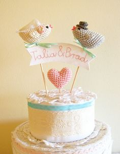 Custom Wedding Bird Cake Topper with Embroidery by cherrytime