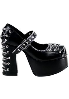 "Demonia - Charade 25 Shoe        Black platform        Mary-jane strap        Zip detail and chain corseting        4 1/2"" heel        Man made"