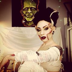 Bride Of Frankenstein makeup costume and cosplay. Halloween ideas. Follow me on Instagram @ TheTrashMask for more!