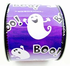 Purple Ghosts Decorative Wired Ribbon - Continuous 9 Foot Roll X 2.5 Inches Wide Perfect for Halloween! *** Visit the image link more details.