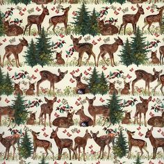 Reindeer & Trees Specialty Paper ~ Germany From an online source based in Encinitas, CA. They carry beautiful papers, ornaments, and keepsakes Woodland Christmas, Miniature Christmas, Christmas Minis, Christmas Clipart, Christmas Paper, Christmas Printables, Christmas Crafts, Vintage Christmas Wrapping Paper, Christmas Gift Wrapping