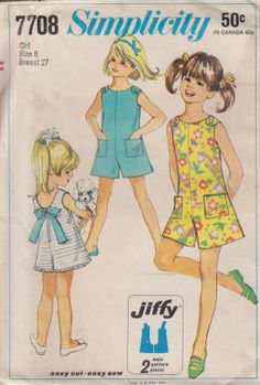 Girls Jiffy Pantdress Button Trimmed Shoulder by HoneymoonBus, $7.99