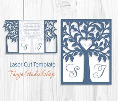 Love Tree Wedding Invitation Laser Cut Pattern Card Template Source by Silhouette Cameo Cards, Wedding Silhouette, Tree Silhouette, Wedding Templates, Wedding Invitation Templates, Card Templates, Design Templates, Cricut Wedding, Wedding Cards
