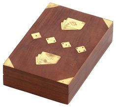 """Tricky Box- #Handmade 7"""" #Wooden #PlayingCards and #Dice #StorageBox with 3 Slots & Brass Inlays"""