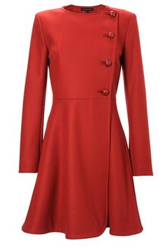 French Connection - Wonderland Flared Coat - Wonderland Flared Coat is collarless and has a side-fastening button placket at front, interior button fastening, two side-slit pockets and a flared skirt. This coat is fully lined. Length from centre back; Fashion Sale, Womens Fashion, Fashion Fashion, Red Flare, Coat Sale, Classy And Fabulous, Clothes For Sale, Beautiful Outfits, Beautiful Clothes