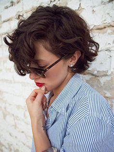 short hair for women; short hair; long pixie cut; curly short hair