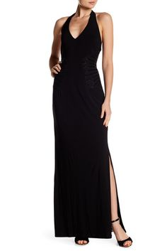 Image of Laundry By Shelli Segal Embellished Halter Gown