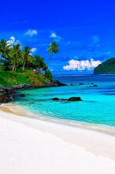 Lalomanu beach on the east coast of Upolu island in Samoa: