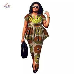 2018 Summer African Dashiki for women o-neck Skirt Set natural Bazin riche african fashion clothing cotton Plus Size BRW African Dashiki, African Fashion Ankara, Latest African Fashion Dresses, African Dresses For Women, African Print Dresses, African Women, Costume Africain, Red Peplum Dresses, Suits For Women