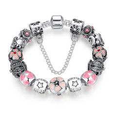 Cheap christmas bracelet, Buy Quality christmas charm bracelet directly from China bracelet bracelet Suppliers: BAMOER New Silver Color Pendants Bracelet with Crown Flower STARS Safety Bead Pink Beads & Charms Christmas Bracelet Pandora Bracelets, Bangle Bracelets, Bangles, Bracelet Charms, Flower Bracelet, Silver Bracelets, Charm Bracelets For Girls, Charm Jewelry, Charm Bead