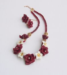 Bordeaux flower necklace and earrings