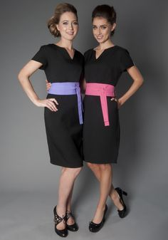 These dresses would be cute for the summer. Beauty Tunics Salon Wear Uniform Spa Uniforms, but in different colours of course Corporate Uniforms, Staff Uniforms, Work Uniforms, Spa Uniform, Hotel Uniform, Office Uniform, Restaurant Hostess, Hostess Outfits, Beauty Tunics