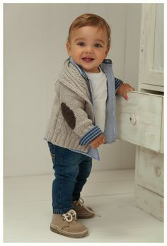 Who says that only baby girls have stylish clothes? Loving the layered look here! Baby boy winter fashion.