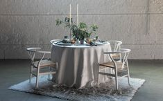 Porcelain Nordic linen from BBJ's Hygge Collection Wedding Table Linens, Winter Treats, Winter Parties, Linen Rentals, Outdoor Furniture Sets, Outdoor Decor, Menorah, Twinkle Lights, Chair Covers