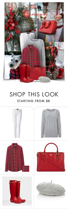 """Red Plaid Christmas"" by angkclaxton ❤ liked on Polyvore featuring Juicy Couture, Glamorous, Uniqlo, Tory Burch, Hunter, Accessorize, women's clothing, women, female and woman"