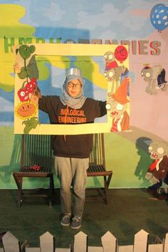 """This is the result of """" Plant vs Zombies """" themed photobooth in a graduation party that me and my friends made."""