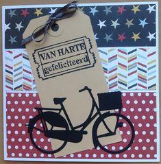 Kaartenblog van Tineke: Fiets met stroken Bicycle Cards, Wind Of Change, Explosion Box, Marianne Design, Diy Cards, Cardmaking, Paper Art, Birthday Cards, Shapes