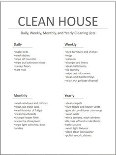 Master Cleaning List... very well thought out!