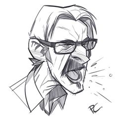 Late night sketch of Marc Maron whose podcast I've been listening to for years. He's become one of my favorite comedians