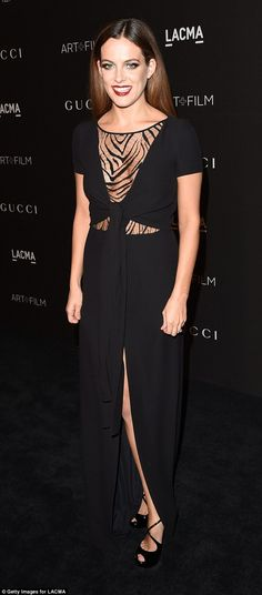 Riley Keough donned a cut-out black gown with a thigh-high split at the LACMA Art + Film Gala http://dailym.ai/1DMjl91