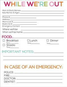 babysitting information sheet printable | Printable babysitter notes from