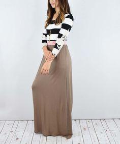 éloges Dust Pink & Mocha Stripe Crochet-Sleeve Maxi Dress by éloges #zulily #zulilyfinds