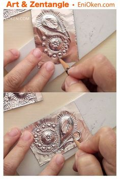 """Learn how to play with metal foil tape and experiment with a new technique similar to """"repoussé"""", with minimal investment in supplies. Learn how to form gorgeously distressed metallic tiles using metal foil Tin Foil Art, Aluminum Foil Art, Aluminum Can Crafts, Metal Crafts, Tile Crafts, Tin Foil Crafts, Tin Can Art, Tin Art, Soda Can Art"""