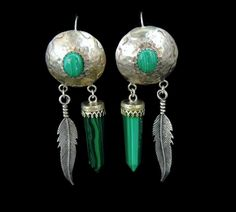 Southwestern Vintage Malachite Dangle Earrings Long Silver Feathers
