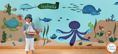My Wonderful Walls Ocean Wall Stickers for Under The Sea Theme Wall Mural for Kids Room, Multicolored