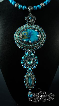 Turquoise Swarovski Necklace by LiaReed on Etsy, $340.00