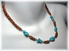 Chain Maille NecklaceBronze WireTouquoise Chunks by ChicArtistique, $95.00