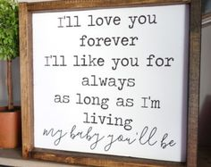 I'll Love You Forever Framed Wood Sign, Beautiful Rustic Bedroom Decor | Farmhouse Bedroom | Farmhouse Decor | Bedroom Design Ideas | Bedroom Decor | Fixer Upper Style | Joanna Gaines | Farmhouse Style | Farmhouse Sign | Wood Sign | Rustic Sign | Shiplap | Rustic Home Decor, living room, dining room, family room, kitchen, bedroom, rustic home decor, diy decor, signs, farmhouse #afflink
