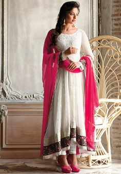 Off White Faux Chiffon Anarkali Churidar Kameez Online Shopping: KWY803