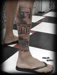 rio de janeiro / /tattoo tatuagem Preto e cinza Black and gray por : Phillipe Barros https://www.facebook.com/phillipebarrosarte?ref=hl