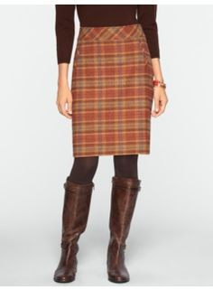 Talbots Ross Plaid A-Line Skirt in color butterscotch/brown