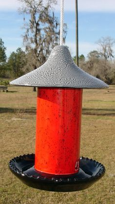Ceramic Bird Feeder Red Sprinkles by GoatieGifts on Etsy