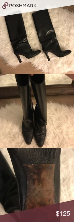 Pre owned Manolo Blahnik knee high black boots Pre owned authentic Manolo Blahnik boots;  in good condition size 36; can go up a size. (I'm a 37-37.5 and these fit me snug) The bottom soles have been refurbished and added the rubber soles for grip. Truly loved these oldies but goodies. Need to clean out my closet...no visible signs of tear by show wear as these were my go to boots for awhile. The leather needs a bit of polishing but other than that good! Manolo Blahnik Shoes Heeled Boots