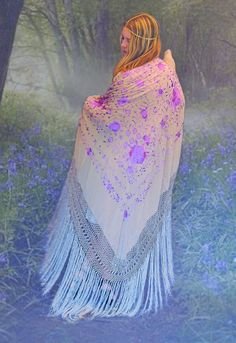 Lilac Moon Huge SILK Fringe Piano Shawl // beige by Andeebird