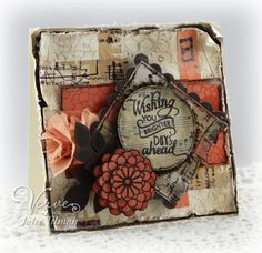 Mixed media card using acrylics, stains, washi tape and Verve Stamps.