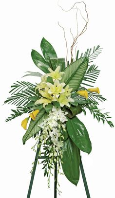 Ti Leaves Standing Funeral Spray, Nationwide Funeral Flower D Funeral Floral Arrangements, Tropical Flower Arrangements, Church Flowers, Funeral Flowers, Casket Flowers, Funeral Sprays, Casket Sprays, Memorial Flowers, Cemetery Flowers