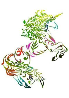 Unicorn tattoo idea. Fantastic color