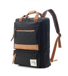 Two front Zipper pocket Backpack (Black)