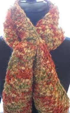 ScarfRed Green and Gold by TheHighPlainsKnitter on Etsy, $40.00