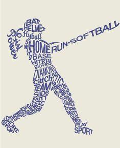 GG 1747 Girls Softball Word Art