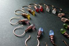 COPPER Earrings - Seven Frosted Drop Earrings for the Price of Six - Wire Wrapped Dangle Earrings. Handmade Jewelry. by TheTeardropShop from The Teardrop Shop. Find it now at http://ift.tt/1AAn2jj!
