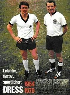 Wolfgang Overath and Fritz Walter showing off West Germany's kits from 1954 and 1970.