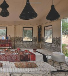 Arabian Dining tent at Peacock Pavilions boutique hotel in Marrakech Morocco