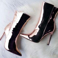 Pointed Toe Metallic Bootie Heels