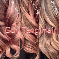 The many shades of #rosegold I have created! I customize the color each time and created 2 versions for @Michelle Flynn Phan ! From antique rosé , blush rosé to peach and coral like tones ! Their is a rosé tone shade for each skin type or eye color! #ombre #ombrehair #guytang #guy_tang #guytangfavorites #guytanghair #rosegoldhair #theoneandonly
