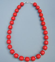 Red Coral Sterling Silver Necklace 111042 by OmiSilver on Etsy